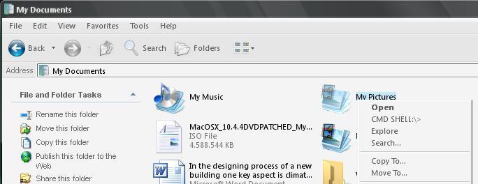 Context menu modified