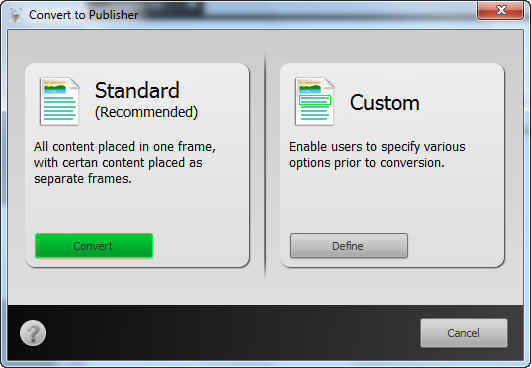 Convert To Publisher Options