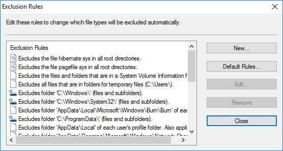 Backup Exclusion Rules