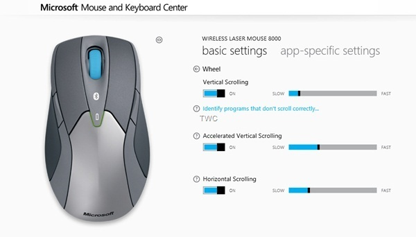 Wireless Mouse settings