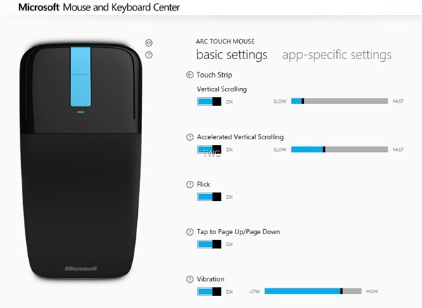 Touch mouse settings