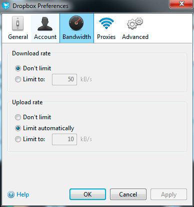 Bandwidth settings