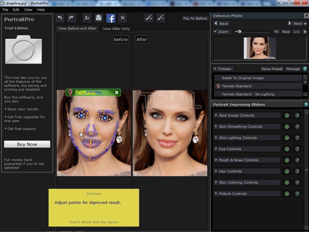 Adjusting face shape