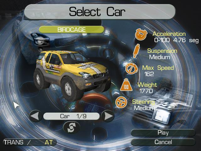 Cars selection screen