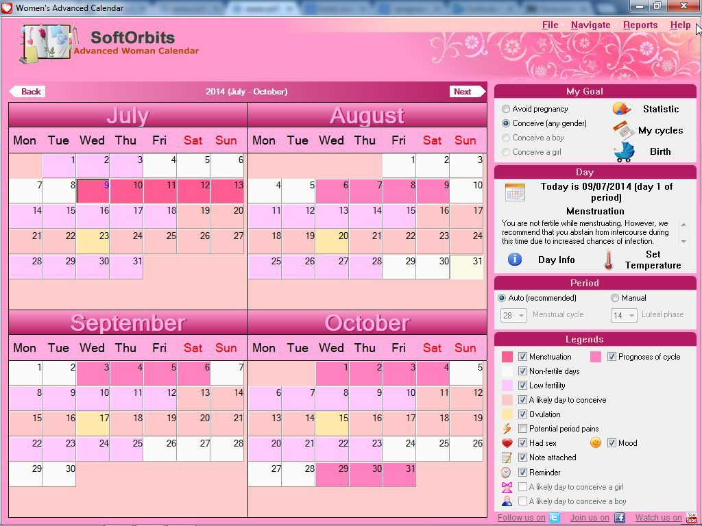 Main interface with menstrual periods