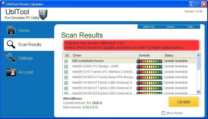 Scan Results Window