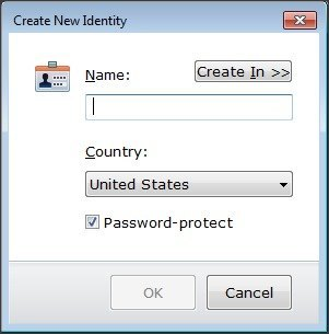 Identity Creation Window