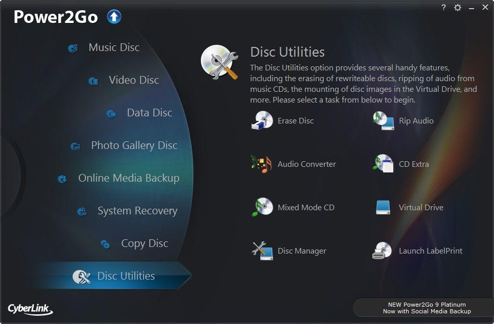Disc Utilities Menu