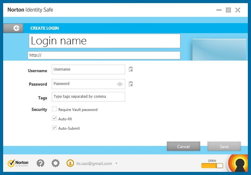 Creating a New Login Entry