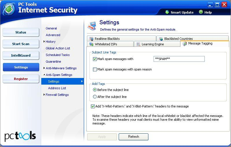 Settings for E-mail scanning and AntiSpyware