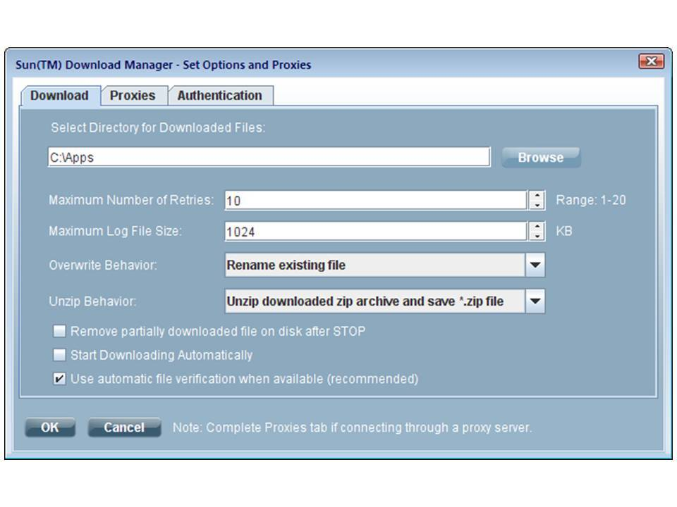 sun download manager used for JRE5 installation