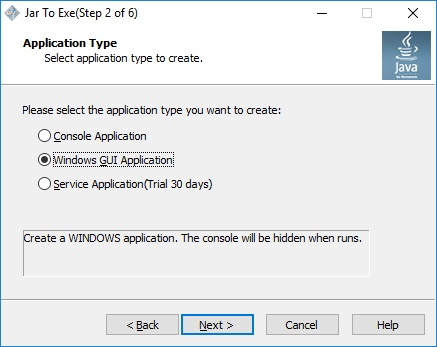 Select Application Type