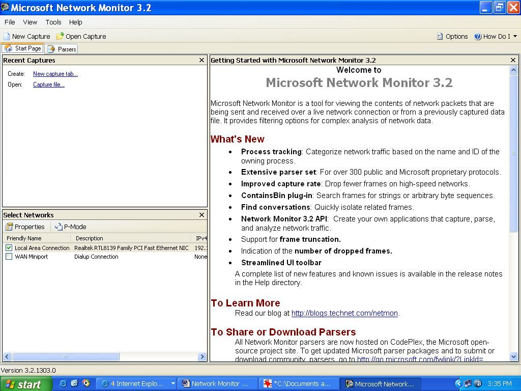 Getting started with Microsoft Network Monitor 3.2