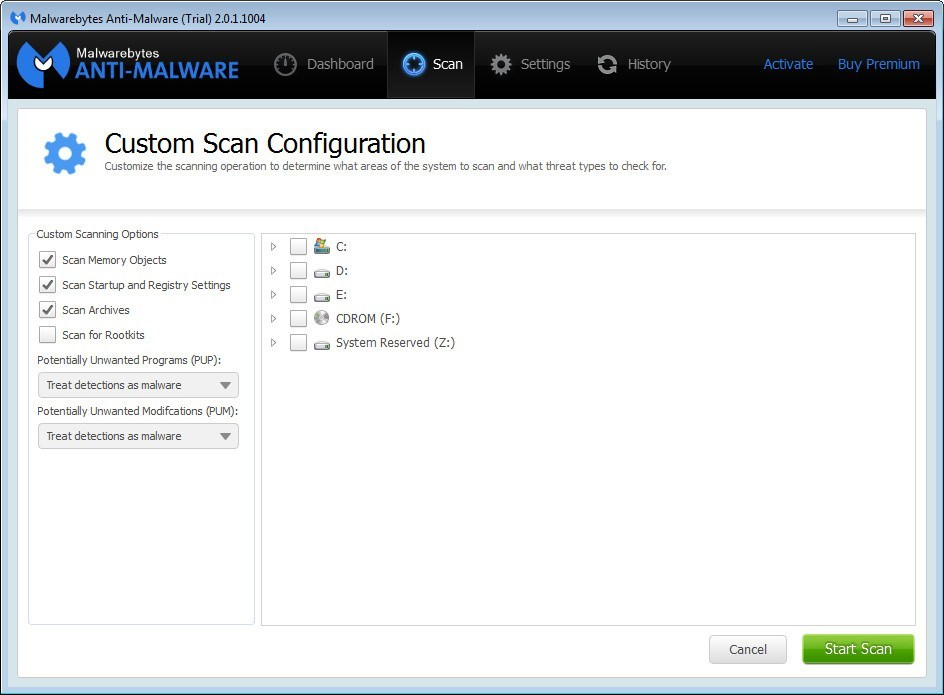 Custom Scan Configuration
