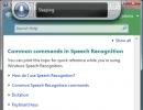 Speech Recognition help menu