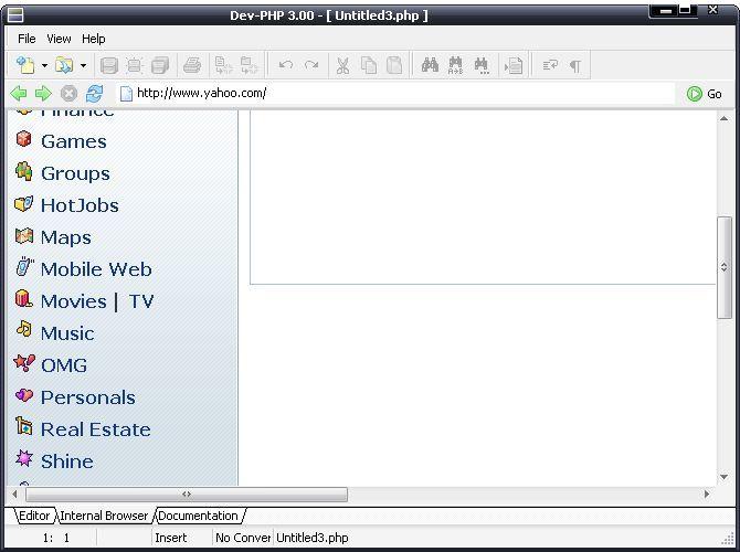 Internal web browser
