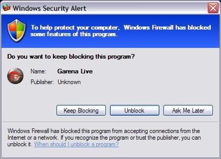 Windows security alert to unblock Garena Live