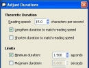 Adjust Durations Window
