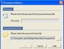 Password history window