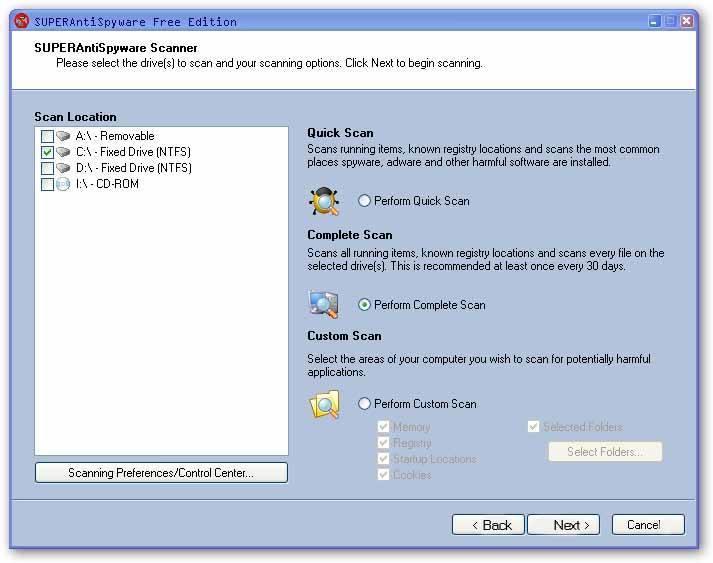 SuperAntiSpyware-Scanning