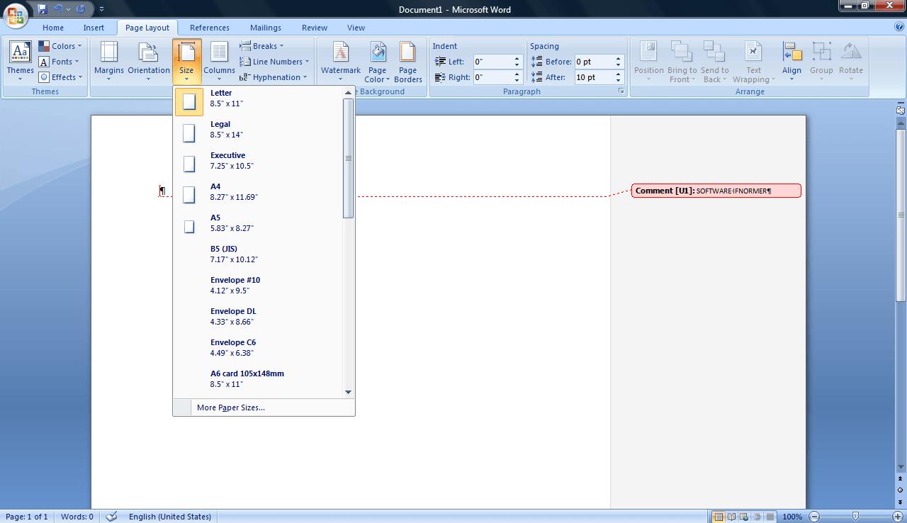page layout- size