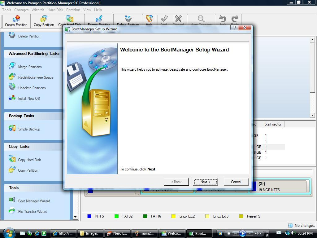 Boot manager setup wizard