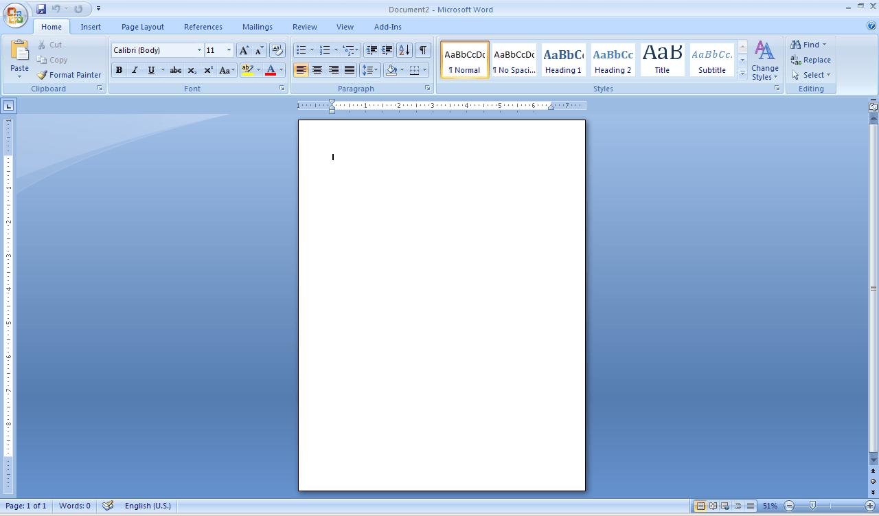 Word Main view