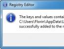 Registry Editing Window