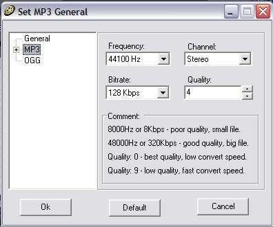 Mp3 settings