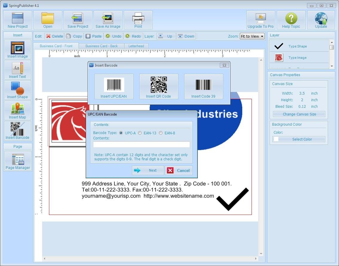 Inserting Barcode