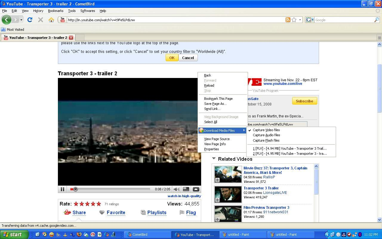 Downloading videos from Youtube in single click