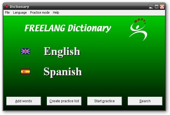 FreeLang Dictionary-Startup screen
