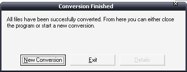 Successful conversion message