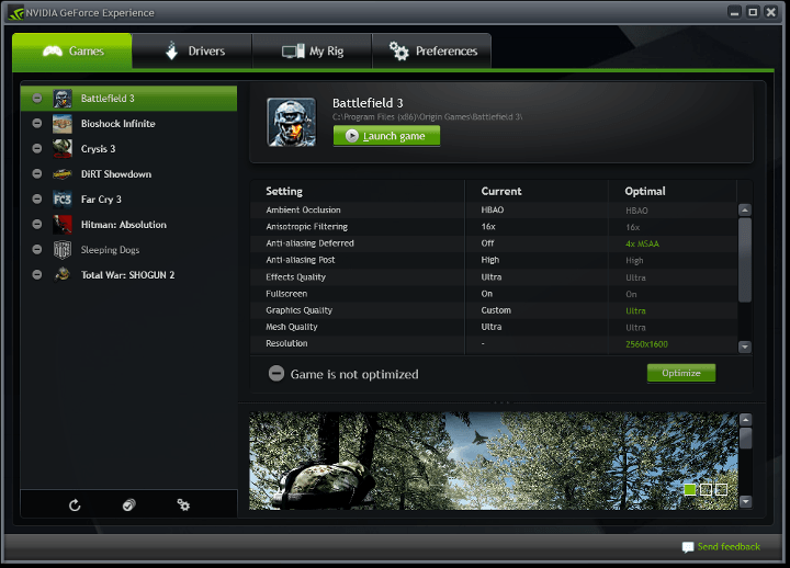 Selecting a supported game