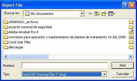 Import file window