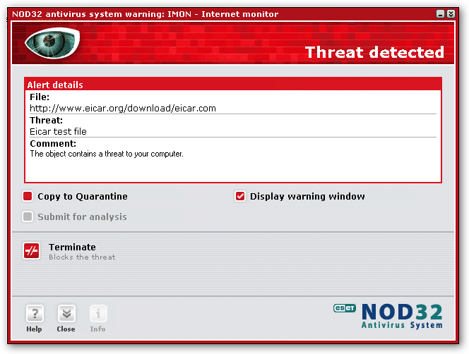 NOD32 detects a virus/threat