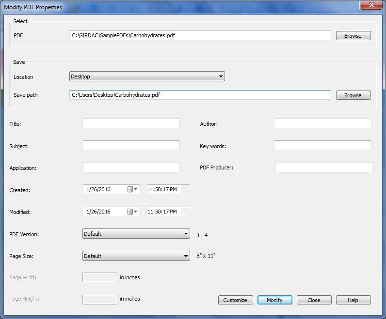 Modify PDF Properties