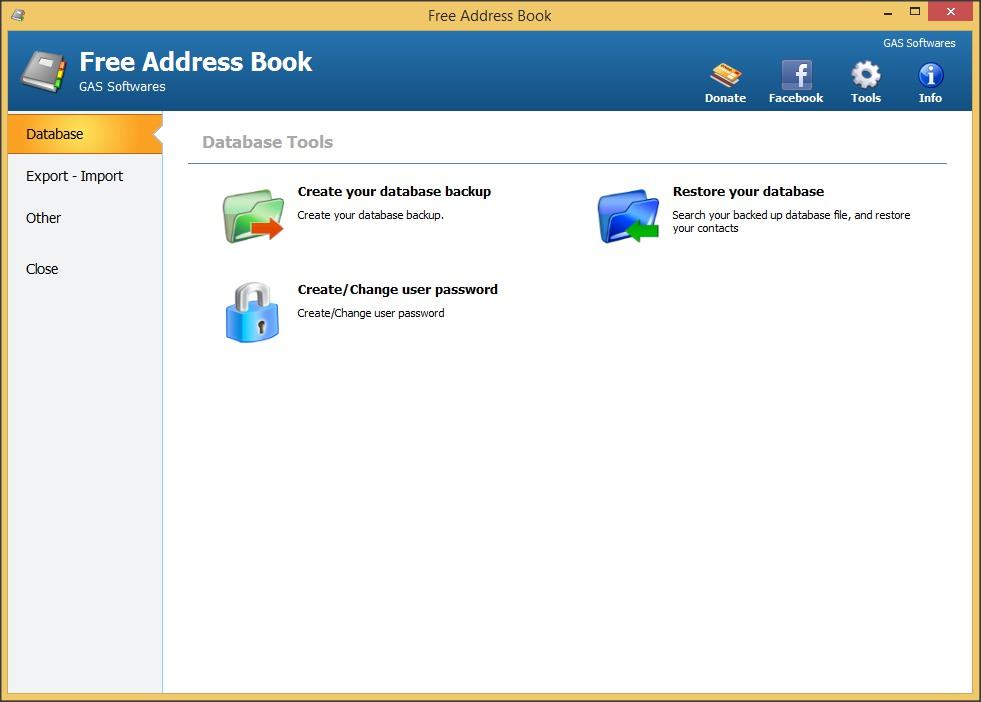 Tools Window - Database Tab