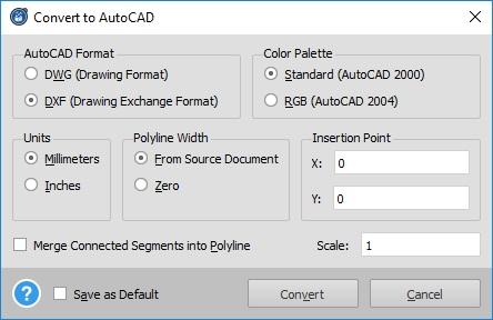 PDF to AutoCAD Options