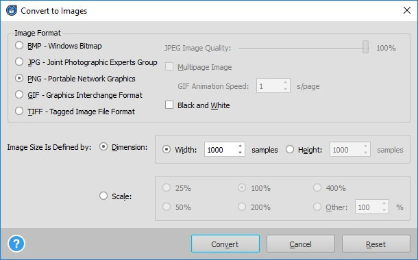 Convert to Images Settings