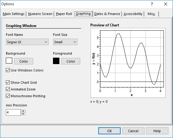 Graphing Settings