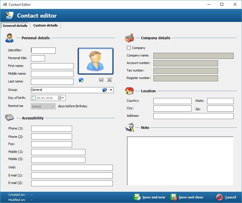 Contact Editor screen