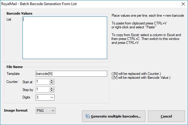 Batch Barcode Generation