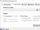 Restore Data tab