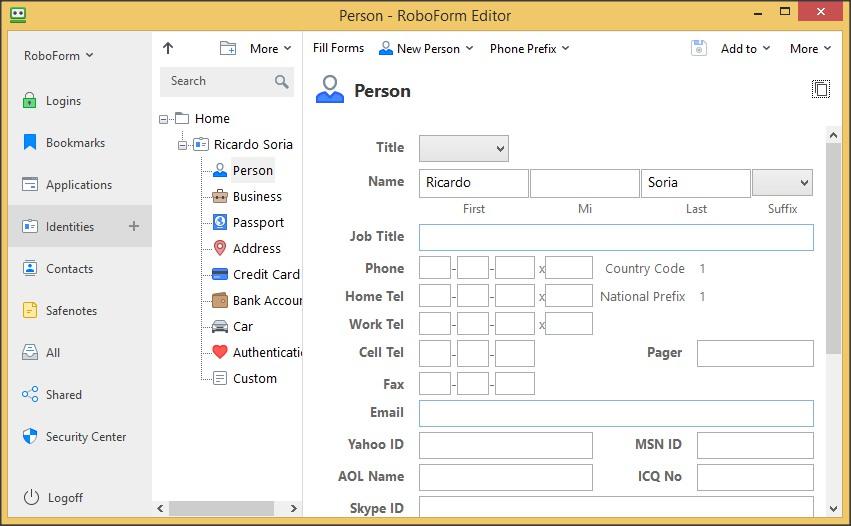 RoboForm Editor - Identities
