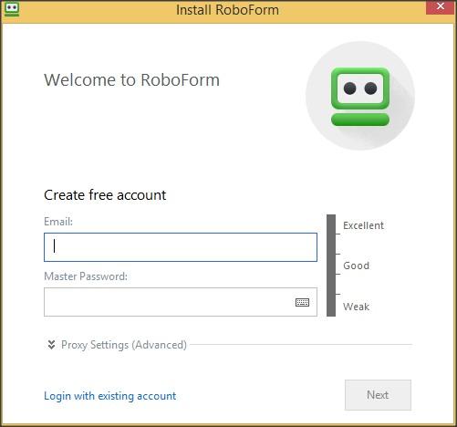 Account Creation Window