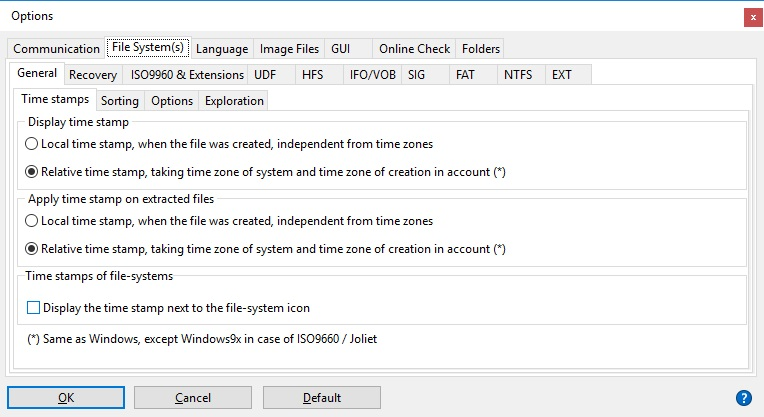File System Options