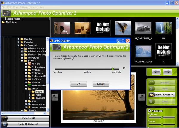 JPEG quality settings.
