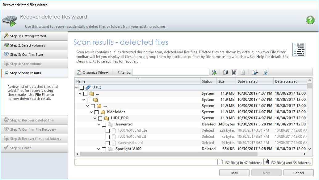 Checking File Recovery Scan Results