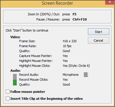 Screen Recorder Parameters